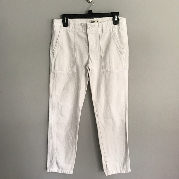 American Eagle Outfitters Pants - AEO white utility cropped pants women's size 0